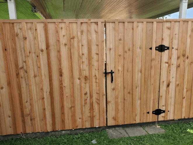 Cedar Gate with Privacy Slats in Marrero